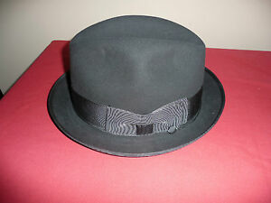Vintage Wormser Supreme Quality Black felt fedora size 7-1/8 1940 New in box
