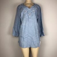 Charter Club Women's Chambray Hazy Blue Top 38657ZE814 Size L NWT MSRP $89.50