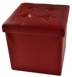 Ecopelle pouf contenitore tinta unita BIG 50x50x50 cm.