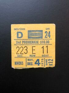12/4/1976 NEW YORK KNICKS  USED BASKETBALL TICKET-STUB. Game K 12