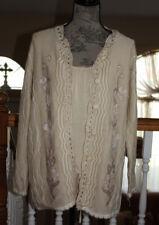 Vintage Biege Hand Knit Button Up Fair Isle Chevron Cardigan Sweater Floral XL