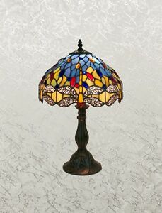"""Beautiful Tiffany Style Blue Multi-Color Stained Glass Dragonfly Lamp, Shade 12"""""""