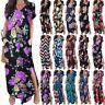Plus Size Womens Short Sleeve Maxi Long Loose Dress Floral Party Shirt Sundress