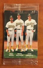1989 Mothers Cookies CANSECO,McGWIRE,WEISS #4 Unopened Card Oakland A's B2105310