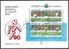1990 SAN MARINO FDC ALA FOGLIETTO MONDIALI CALCIO NO TIMBRO ARRIVO - RD