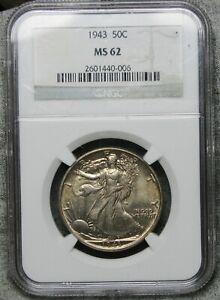 1943 Walking Liberty Half Dollar Silver ---- NGC MS-62 Slabbed Graded----  #963