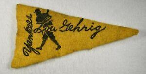 Very Rare 1936-1938 LOU GEHRIG (HOF) NEW YORK YANKEES MINI PENNANT YELLOW
