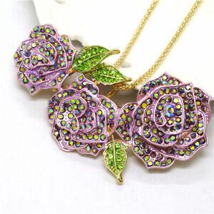 New Betsey Johnson Purple Three Roses Flower Crystal Pendant Women Necklace