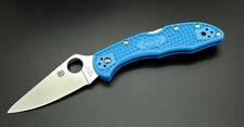 Couteau Spyderco Delica 4 Blue Lame Acier VG-10 Plain Manche FRN Japan SC11FPBL