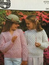 Knitting pattern girls sweater jumper Sirdar 4324 DK v ,round neck