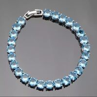 Natural Blue Fire Opal Topaz Tennis Sterling Silver  Bracelet Bangle