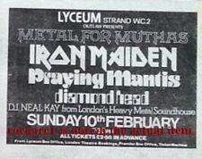 IRON MAIDEN DIAMOND HEAD UK TIMELINE Advert - Lyceum Sun-10-Feb-1980 3x3 inches