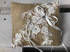 Burlap Hessian Wedding Ring Cushion Bearer Pillow Ivory Lace Pearls Diamanté