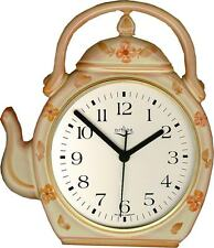 236120F  Keramik Teekannen Uhr hellbraun orangenfarbenen Blumen handbem.Funkuhr