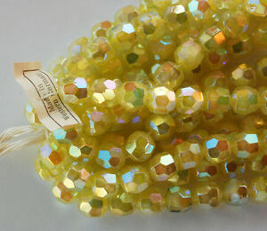 VINTAGE 6 WESTERN GERMANY FACETED GLASS BEADS YELLOW AURORA BOREALIS AB 10mm