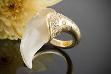 Schmuck Erstklassig Ring mit Bergkristall & Brillanten massiv 750 Gelbgold Gr 55
