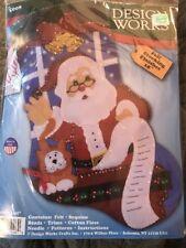 """Design Works 18"""" Christmas Felt Stocking Kit """"Santa's List"""" Kitty Cat"""