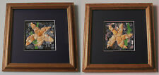 pair of STARFISH MOSAICS handmade with shell pieces & seaglass MOUNTED & FRAMED