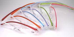 stylische Lesebrille in 6 modischen Farben 5 Stärken Sehhilfe randlose Brille