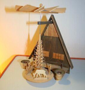Erzgebirge Weihnachtspyramide, alte Vintage Wandpyramide, Original DDR Ostalgie