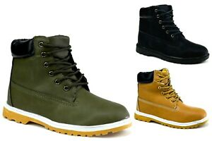 LADIES NEW WALKING ANKLE BOOT-  COMFY LACE UP GRIP SOLE OUTDOOR SHOES