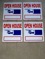 "(4) Open House Directional Signs 12"" x12"" Plastic Coroplast w/Stakes (2-Sided)"
