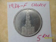 5 reichsmarks 1934-F Potsdam Iglesia Tercer Reich Deutsches Reich marca de moneda de plata