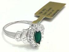 Marquise Green Onyx & Diamonds 10k White Gold Ring