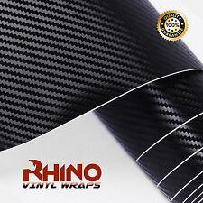 RHINO Carbon Fibre 3D  Vinyl  Wrap Film  Black Bubble AIR Free  1520mm x 300mm