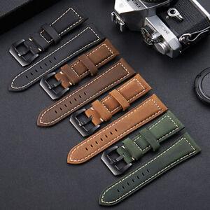 Watch Bands Crazy Horse Cowhide Genuine Leather Wristwatch Straps Belt 20-26mm