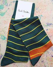 Paul Smith Para Hombre Italiano Calcetines Impares raya fresca Verde Mezcla de Algodón de bronceado K402 One Size