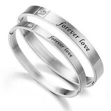 Bracelet Amour Forever Love Manchette Acier Inoxydable pour Homme et Femme Coul