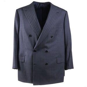 NWT $6500 BRIONI 'Tiberio' Slate Blue Stripe Super 150s Wool Suit US 50 S Short