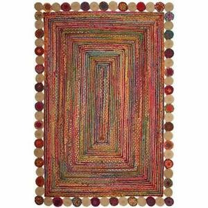 4x6 feet square indien braided cotton jute rugs bohemian living room area rug
