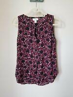 Loft Size XS Maroon Black Floral Print Sleeveless Top