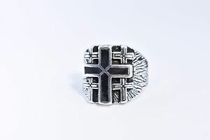 1980's Vintage Large Silver White Bronze Size 13.5 Men's Black Cross Inlay Ring