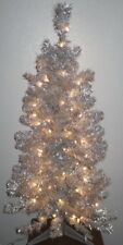 Beautiful 4'ft  Mid Century Modern Silver Pre-Lit Christmas Tree Shimmers