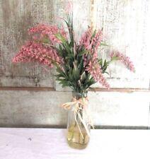 Simple Primitive Faux Lavender Flower Plant Boquet in milk jar w faux water look