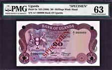 Uganda 20 Shillings ND (1966) SPECIMEN Pick-3s Ch UNC PMG 63