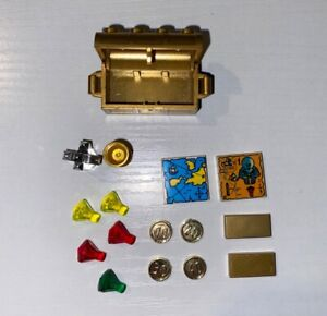 LEGO Pearl Gold Treasure Chest Goblet Maps Jewels Crystals Coins