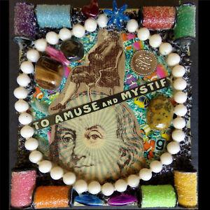 Handmade Historical Collage Painting, Abstract Original Mixed Media Pop Folk Art