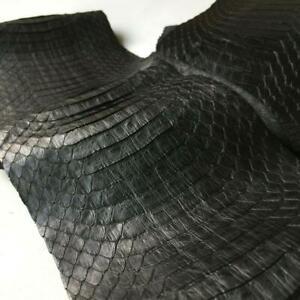 Asia Cobra Snake Leather Hide Snakeskin Craft Supply Back Cut Black