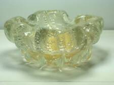 Vintage controlled bubble gold mica Murano art glass ashtray