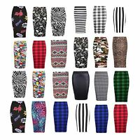 LADIES NEW WOMEN'S MIDI BODYCON PENCIL PLAIN PRINTED HIGH WAIST TUBE SKIRT 8-26