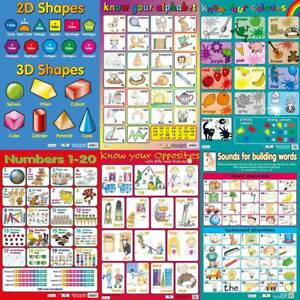 Childrens Early Learning Educational Wallcharts/ posters - set of 6 - A2