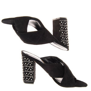 RRP €175 FEDERICA STELLA Leather Mule Sandals EU38 UK5 US8 Quilted Made in Italy