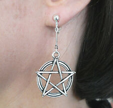 Adjustable Clip-on Pentacle Dangle Earrings Silver-tone Sabbat Wicca Pagan Gift