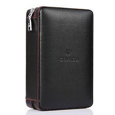 COHIBA Black Leather Cedar Cigar Case Humidor W/ Cutter Lighter Set 4 Count