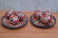 6 Wooden Ukrainian Easter Eggs Pysanka Pysanky Pisanki Small+ plates