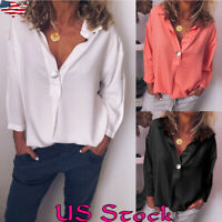 Womens Ladies Summer V Neck Long Sleeve Casual Loose Comfy New Tops Shirt Blouse